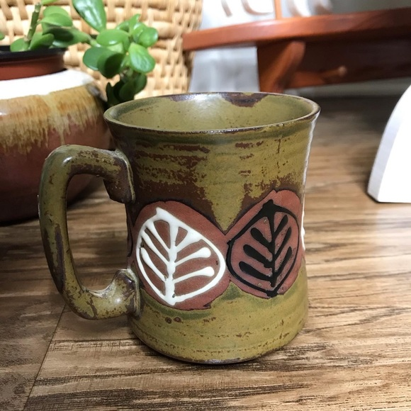 Vintage Japan Made Olive Green Ceramic Mug